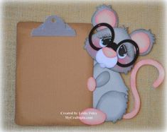 Mouse with a clipboard School Premade Scrapbooking Embellishment Paper Piecing Foam Crafts, Diy And Crafts, Wood Yard Art, School Scrapbook, Christmas Door Decorations, Borders For Paper, Paper Piecing Patterns, Scrapbook Embellishments, Animal Cards