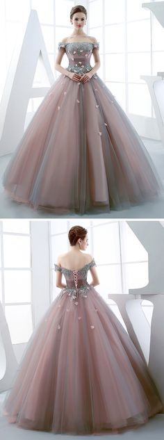 Princess Off The Shoulder Applique Lace Up Back Quinceanera Ball Gown Ball Gown Dresses, Evening Dresses, Prom Dresses, Formal Dresses, Elegant Dresses, Nice Dresses, Smart Dress, Princess Ball Gowns, Queen Dress