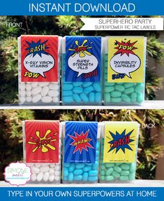 Superhero Party Favors - Tic Tac Labels - INSTANT DOWNLOAD with EDITABLE text - you personalize text at home using Adobe Reader