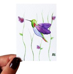 Hummingbird ACEO Watercolor Painting Giclee Print by PainterPeeps, $4.95