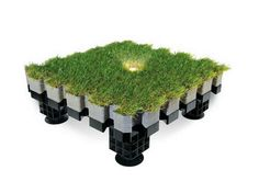 Synthetic grass outdoor floor tiles ROOFINGREEN NATURE LED by Roofingreen
