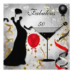 Fabulous 50 Fifty Birthday Party Red Silver Black Art Deco Lady Fabulous Elegant Events for Women, Girls, Party Invites for all ages, just customize to the age you want! 21st, 30th, 40th, 50th, 60th, 70th,