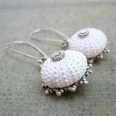 Sea+Urchin+Collection+-+Special+White+Earrings+von+Star+of+the+East+auf+DaWanda.com
