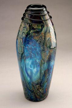 "*Art Glass -   ""Aqua Tall Slender Vase"" by Sigafoos"