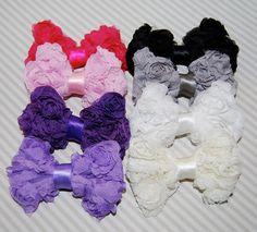 6 shabby bows MINI Rosette Bows DIY chiffon by isakayboutique White Hair Bows, Diy Hair Bows, Diy Bow, Fabric Bows, Mesh Fabric, Fabric Flowers, Ribbon Headbands, Ribbon Bows, Diy For Kids