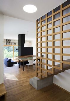 interesting stair combination... notice shelves above sliding glass doors