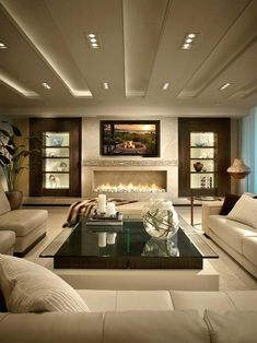 modern living room brown design … | tv room …