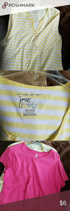 Two jms shirts. Priced separately. Brand new condition.  One yellow with nice collar and one pink shaped fit tee jms Tops Blouses