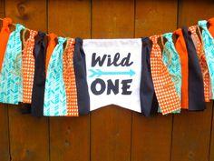 Wild ONE Birthday Banner HighChair High chair by SeacliffeCottage