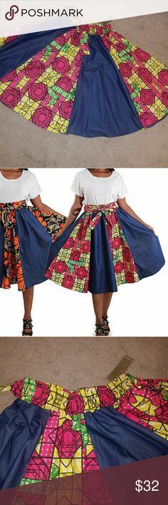 Ankara & Denim skirt *NWT* Beautiful African print w/ denim. Elastic waist. Pockets. Attached belt. One size fits all. I wear 18 & fit it well. Never worn. Skirts Midi