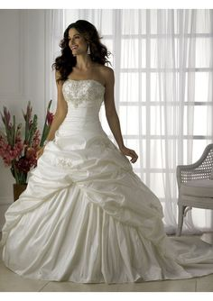 Taffeta Strapless Empire Bodice with A line Rouched Skirt and Chapel Train 2010 New Wedding Dress WD-0015