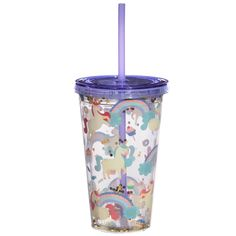 Fun for all the family at home, work or on holiday, our range of reusable double walled cups keep cold drinks cold. Printed with fun designs they are colourful and practical and come with a lid and reusable straw. Each cup holds 500ml. Our double walled cups keep cold drinks cooler for longer and are not suitable for use with hot liquids. The straw is not recommended for children under 5. Dimensions: Height 16cm Width 10cm Depth 10cm Straw Length 23cm (approx 6 x 4 x 4 inches; straw 9… Gifts For Mum, Gifts For Girls, Fun Drinks, Cold Drinks, Unicorn And Glitter, Reusable Cup, Birthday Gifts For Boys, Funky Design, Unusual Gifts