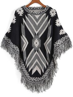 To find out about the Black White Tribal Print Tassel Cape at SHEIN, part of our latest Sweaters ready to shop online today! Bohemian Chic Fashion, Hippie Fashion, Bohemian Gypsy, Boho Chic, Different Shades Of Black, Fall Patterns, Kpop Fashion Outfits, Native American Fashion, Men Style Tips