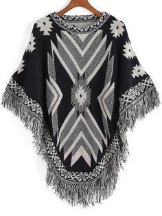 Black White Tribal Print Tassel Cape