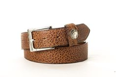 Buffalo Leather Nickle Keeper Belt - Handmade in USA - Free Shipping - Peanut Brown with Nickel