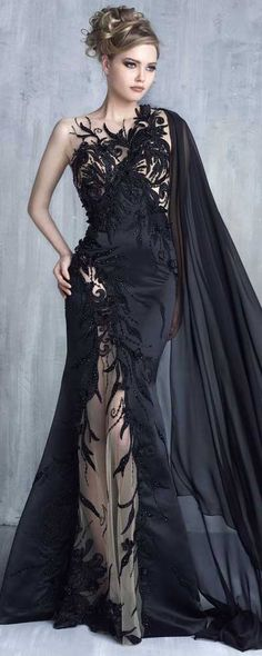 68e7712a0e Tony Chaaya Haute Couture 2016 Collection - Evening Dress Black Evening  Gowns