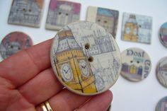 Big Ben ceramic sew on button