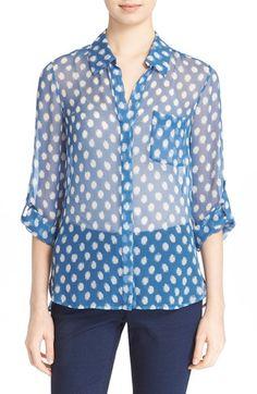 DIANE VON FURSTENBERG 'Lorelei Two' Polka Dot Print Silk Blouse. #dianevonfurstenberg #cloth #