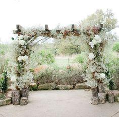 Babies breath arch. Ceremony. Bohemian antique ranch wedding inspiration.