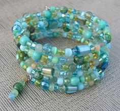 Ocean Vibe Aqua Blue Green Memory Wire Bracelet by BougieBoho, $35.00