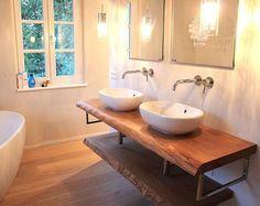 Konsole Waschtisch Waschtischplatte massiv Eiche rustikal auf Maß Waschtischkonsole Holzbohle für Waschbecken | Holzwerk-Hamburg