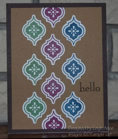 handmade card ... kraft base ... perfect placement of stamped and punched Mosaic tiles forms a band down the center ... Stampin' Up!