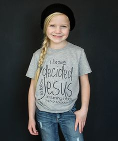 Loving this The Talking Shirt Heather Gray 'Decided to Follow Jesus' Tee - Toddler & Kids on #zulily! #zulilyfinds
