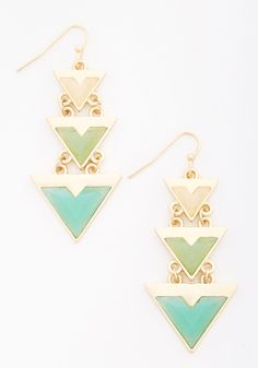 Aim to Belize Earrings. Set the tone for your caribbean adventure with these ModCloth-exclusive golden earrings. #blue #modcloth