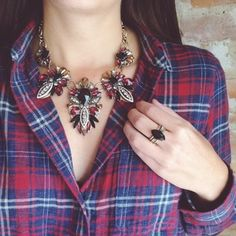 Rachel Rank's Boutique - Union Grove, Wisconsin | Chloe + Isabel This statement necklace adds a chic quality to this flannel! {{LOVE}} Shop my boutique for this look and more!
