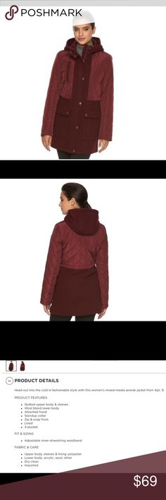 Women's Anorak Style Winter Coat in Wine color NWT Women's winter hooded anorak coat with quilted upper body and wool lower body.   Beautiful Deep Wine or Burgundy/Merlot color.  Stylish enough for special occasions, but great for daily use as well.  Women's size Medium.  Brand new in Packaging.  See 3rd picture for more product details. Apt.9 Jackets & Coats