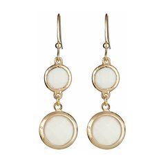Blu Bijoux White Double-Drop Earrings found on Polyvore