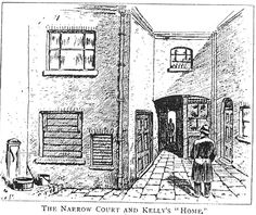 Here we see a sketch of the interior of Miller's Court looking down the close leading to Dorset Street. Mary Kelly's ground-floor room is a flat converted out of the back room of 26 Dorset Street.