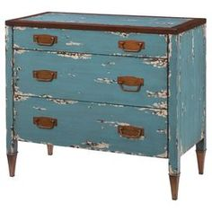 distressed 3-drawer chest showcases rust-finished hardware and a painted blue finish.