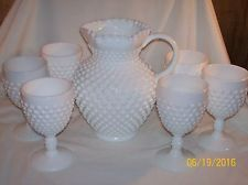 Fenton Milk Glass Hobnail pitcher 3764 MI and tumblers 3845 MI bonus 2 sherbets
