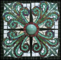 Stained Glass Window in Red and Aqua Glass and Handmade Ceramic Mosaic