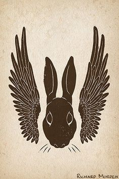 Winged Rabbit - a rabbit with bird wings. Scanned linocut print. Zoomorph animal hybrid available as a gift card or t-shirt