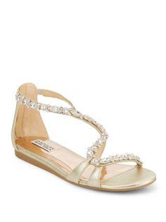 Badgley Mischka Carey Rhinestone Accented Sandals In Platinum Metallic Sandals, Badgley Mischka, Metallic Leather, Headbands, Dust Bag, Product Launch, Glamour, Purses, Boots