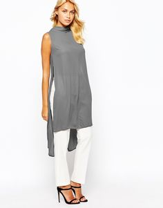 Image 1 ofLove High Neck Top With Open Back And Side Split