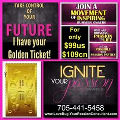 The Count Down is on - Only (3) $99 Kit Gold Tix remaining for you to Join My Team and change your Financial Future. #passionparties #passionpartiesbyzoe #partyforaliving #paidtoparty  (Reg. Kit Prices $189/$259/$399) These are available to First Come/First Served, and the offer expires 3/31/15. Please contact me via email at passionpartiesbyzoe@rogers.com or Visit and LIKE my FaceBook Page: @[348950358499996:Passion parties by ZOE- Embrace your inner passion D.I.V.A] (Don't Pass Up this…