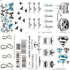 10 PCS 1 Lot Fashion Men And Women Tattoo Lovely butterfly diamond Bird Owl Body Art Flash Waterproof Temporary Tattoos Stickers Find out more by clicking the VISIT button Mini Tattoos, Fake Tattoos, Black Tattoos, Body Art Tattoos, Tatoos, Fake Tattoo Sleeves, Sleeve Tattoos, Art Flash, Metallic Bodies