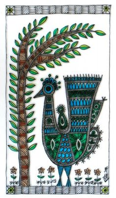 Madhubani peacock - design for my handmade greetingcards..