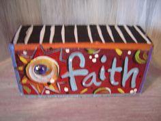 Faith Brick Whimsical Garden Art by KathyHyatt on Etsy - Garten Kunst Painted Bricks Crafts, Brick Crafts, Painted Pavers, Brick Projects, Projects For Kids, Painted Rocks, Brick Edging, Brick Pavers, Deco Paint