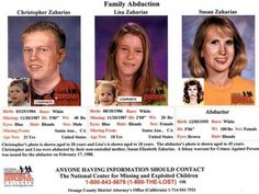 Family Still Searching For Missing Children. Brother & sister, age 3 & 1 when they disappeared in Nov'87, are believed to have been abducted by their mother Susan Zaharias. The CA Missing Person Directory states a felony warrant for the mother's arrest was issued on Feb. 17, 1988. Nearly a quarter century later, whereabouts are unknown.   http://patch.com/california/lakeelsinore-wildomar/25-years-later-family-still-searching-for-missing-children