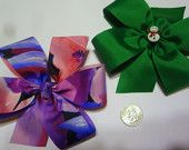 "christmas Holiday girls Hair bows about 5 1/2"" 100% polyester made in the usa"