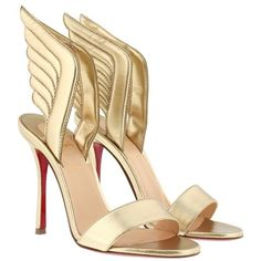 Christian Louboutin Sandals - Samotresse 100 Nappa Laminata Sandals... ($825) ❤ liked on Polyvore featuring shoes, sandals, gold, light gold shoes, stiletto heel shoes, wing shoes, stiletto heel sandals and heels stilettos