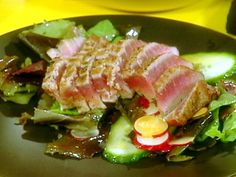 Seared Ahi Tuna and Salad of Mixed Greens with Wasabi Vinaigrette Recipe : Rachael Ray : Food Network