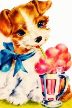 Puppies Milkshake Vintage Greetings Card by poshtottydesignz