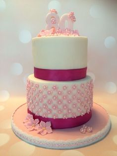 Birthday cake for my mothers Birthday in April 2016 White Cakes, 80th Birthday, Mothers, Mom, Desserts, Pink, Tailgate Desserts, Deserts, Postres