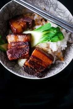 glaced pork belly with rice
