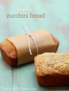 These Mini Zucchini Bread Loaves are so delicious and make a cute treat for friends and neighbors! #recipe #bread #zucchini | TheHowToCrew.com